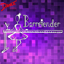 purple background with white outline of a ballerina standing at a bar